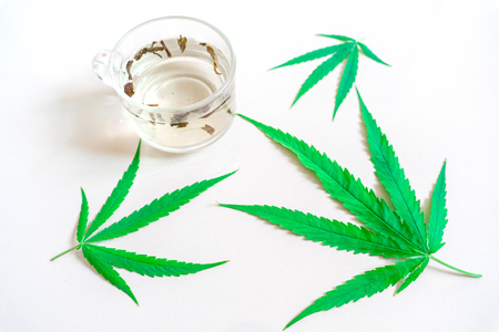Cannabis(marijuana) tea with cannabis leave,  Alternative medicine, Medical cannabis, isolated on white background. Banco de Imagens