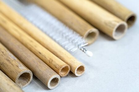 Nature drinking straws from bamboo wood for reusable and reduce the use of plastic straw. Reduce plastic waste in environment.