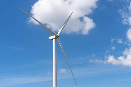 Wind turbines generating electricity with blue sky,renewable energy source.
