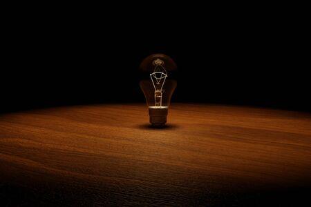 3D rendering  idea concept image with luminous realistic light bulb. Standard-Bild - 147218093