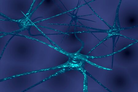 Neuron system wireframe mesh model. Peripheral, 3D illustration of cell. 版權商用圖片