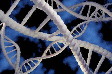 3D-Rendering der DNA-Struktur. Wissenschaftlicher abstrakter Hintergrund. Standard-Bild
