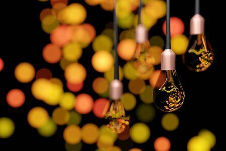3D rendering Hanging light bulbs with blur bokeh, bokeh light, bokeh background. Stockfoto