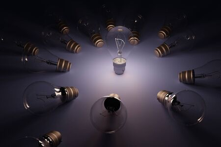 3D rendering  idea concept image with luminous realistic light bulb. Standard-Bild - 147218421