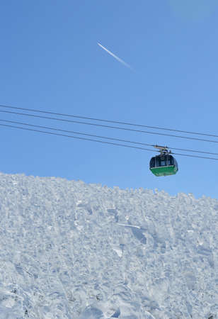 ropeway: snow monsters and a ropeway Stock Photo