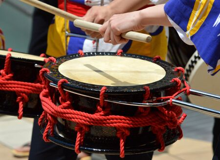 Japanese Taiko drumming Stock Photo