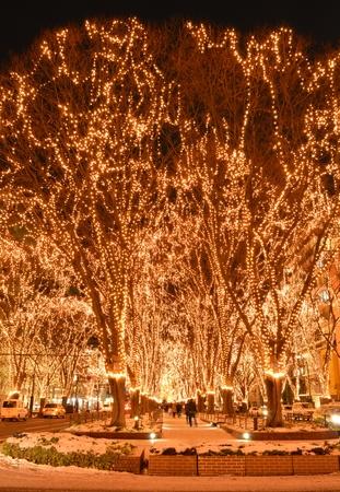The illumination of Sendai city Stock Photo