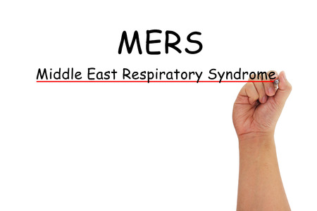 coronavirus: hand with pen writing MERS Middle East Respiratory Syndrome coronavirus on pure white background