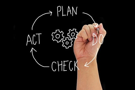 plan do check act: Hand with pen writing concept PLAN DO CHECK ACT around gears isolated on black background.