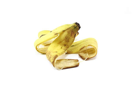 eaten: Bananas Skin isolated on pure white background