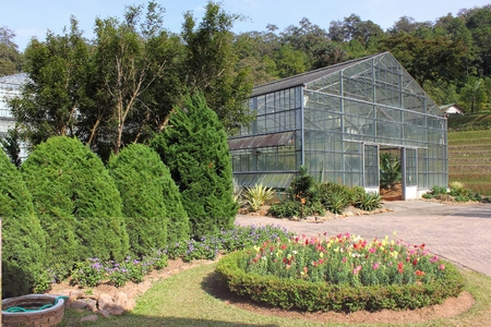 Greenhouse in Queen Sirikit Botanical Gardens Chiang Mai Province.