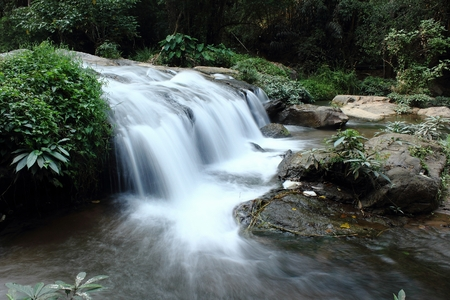 Deep forest waterfall at waterfall National Park Thailand Banco de Imagens