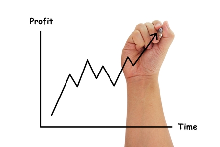 a human hand drawing a business chart isolated on pure white background Standard-Bild