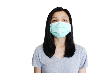 Asian woman with face mask on pure white background.