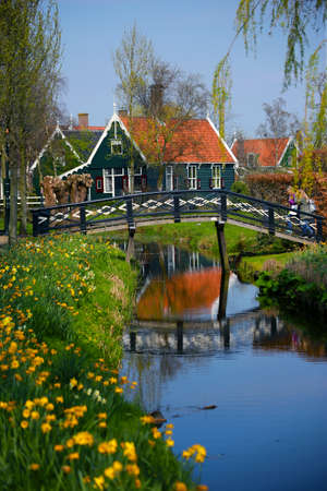 Tipical Dutch village ZAANSE SCHANS, in spring sunny day. Netherlands, Europe.