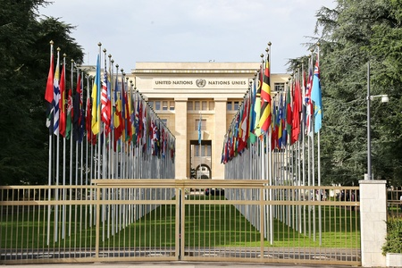 GENEVA, SWITZERLAND - JULY 24, 2016 United Nations Office at Geneva, Switzerland. The UN was established in Geneva in 1947 & this is the second largest UN office.