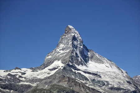 The Matterhorn mountain with blue sky in summer, Zermatt, Switzerland