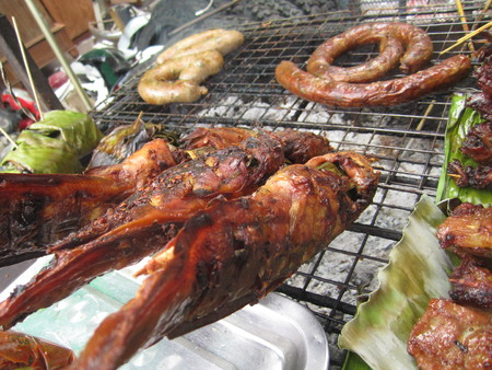 roasted fish and pork, the traditional Thai street food photo