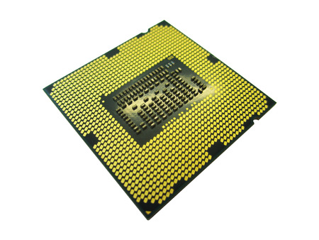 computer cpu: computer CPU chip isolated Stock Photo