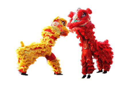 dance costume: chinese traditional lion dance during Chinese New Year celebration
