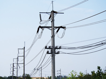 electricity pole: cable power lines on electricity pole