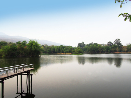 Ang Kaew reservoir at Chiang Mai University in Thailand
