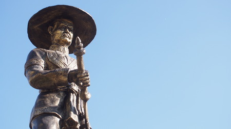 statue of King Taksin of Thonburi, The great king of Thailand isolated on blue sky background Editorial
