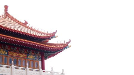chinese historic traditional architecture on white background Stock Photo