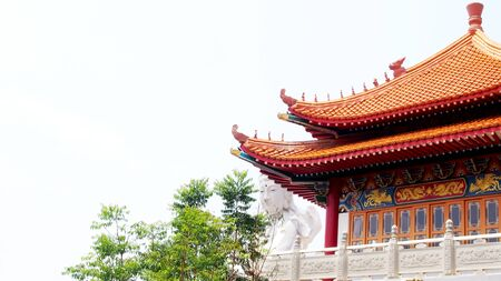 chinese historic traditional architecture on white Guan Yin statue background