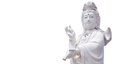 guan yin the goddess of mercy statue isolated on white background