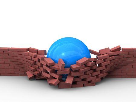 demolishing: A blue ball tracks its way through a brick wall. Stock Photo