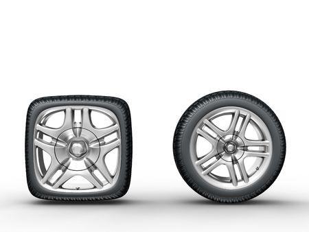 aluminum wheels: 3d prestaci�n de los redondos y cuadrados, ruedas de coches en fondo blanco