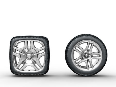 3d rendering of the round and square car wheels on white background photo