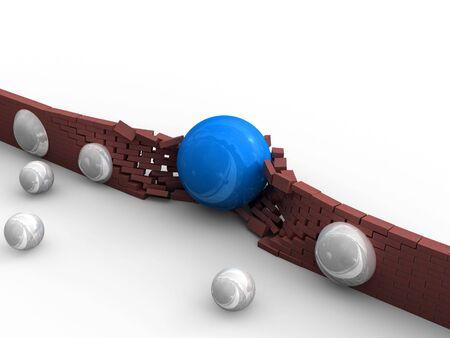 A blue ball tracks its way through a brick wall. Stock Photo - 3203729