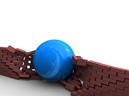 A blue ball tracks its way through a brick wall. Stock Photo - 3203732