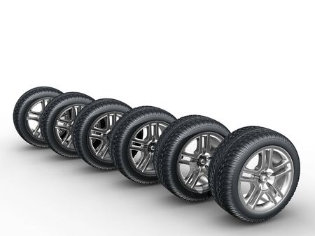 3d rendering of the car wheels on white background Stock Photo
