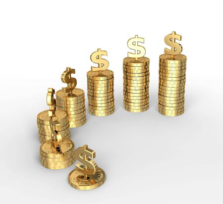 Isolated 3d render of money stacks on white background