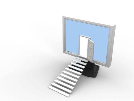 Enter into the monitor through the open door.