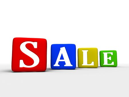 Sale word making from toy boxes photo