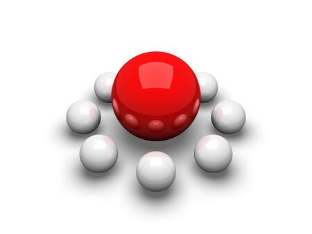 small group of objects: Big red ball surrounded by small balls
