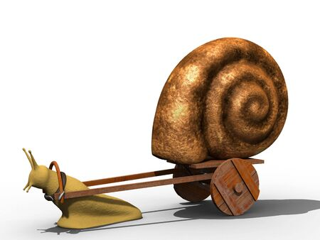 trundle: Snail trundle it shell on the wooden cart. Isolated.
