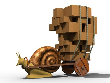 trundle: Snail trundle wooden cart with carton boxes. Isolated. Stock Photo