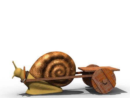 trundle: Snail trundle empty cart. Isolated. Stock Photo