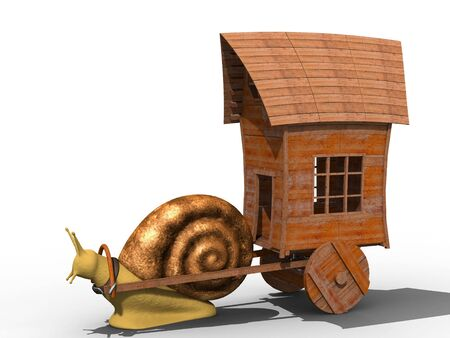 trundle: Snail trundle cart with old wooden house. Isolated. Stock Photo