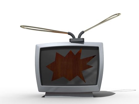 TV with the breach in the screen. Isolated. Stock Photo - 3667380
