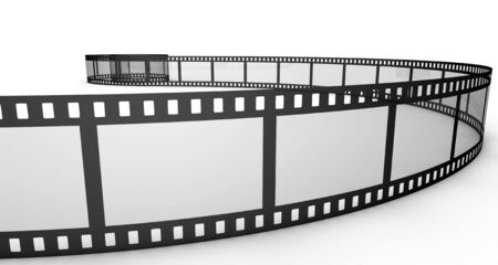 Isolated three-dimensional photographic film on white background.