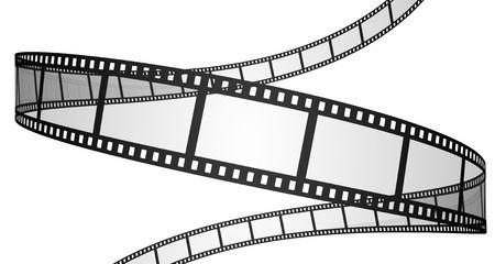 Aislado en tres dimensiones de películas fotográficas sobre fondo blanco. Foto de archivo
