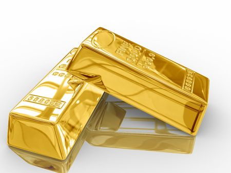 jackpot: Isolated gold bars on white background.