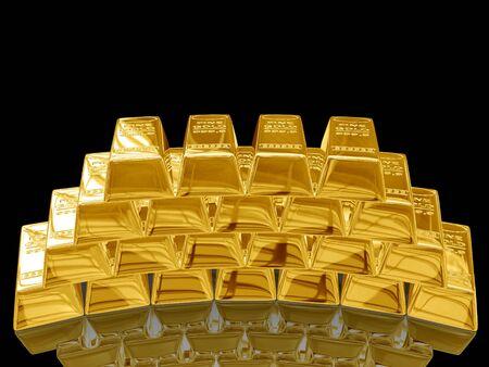 Isolated gold bars on black background.