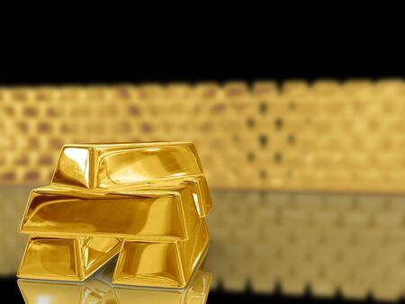 lingotes de oro: Aislado en barras de oro sobre fondo negro. Foto de archivo